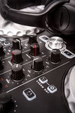 Electronic DJ Mixer close up Stock Photos