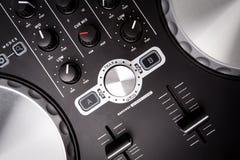 Electronic DJ Mixer close up Stock Image