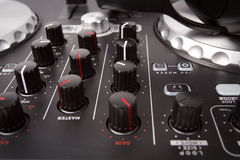 Electronic DJ Mixer close up Stock Photo