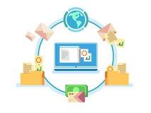 Electronic document management. Data digital file, system storage, computer archive, information database, order catalog, flat vector illustration stock illustration
