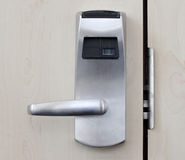 Electronic door. Hotel room electronic door locked. Opens by a plastic card Stock Images