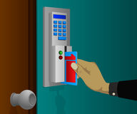 Electronic door locks with swipe cards Royalty Free Stock Images