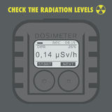 Electronic dosimeter. Personal Combined Radiation Detectors. Stock Photo