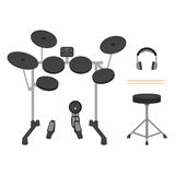 Electronic Drum Set, Headphones, Drumsticks and Drum Throne Royalty Free Stock Photography