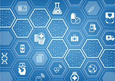 Electronic e-healthcare blue  background with hexagonal shapes Royalty Free Stock Photography