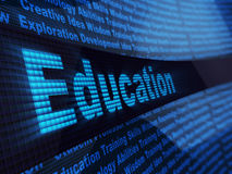 Electronic education. Abstract 3d illustration of education sign, over digital blue background Royalty Free Stock Images