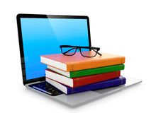 Electronic eduction. Laptop stack of books and glasses  on white background. Electronic education concept Royalty Free Stock Image
