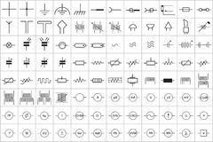 96 Electronic and Electric Symbol v.1. 96 Electronic and Electric Symbol Vector Vol.1 Stock Image