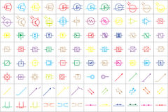 96 Electronic and Electric Symbols v.3 Royalty Free Stock Photography
