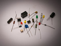 Electronic and Electrical Parts on White Background Stock Photography