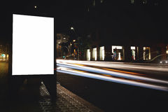 Electronic empty billboard with copy space for your text message or content, public information board with light streaks on backgr Royalty Free Stock Image