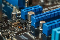 Electronic engineer chip, computer processor technology. Microchip computer cpu hardware, printed digital motherboard component. Pc equipment , technician Stock Images