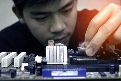 Electronic engineer of computer technology royalty free stock images
