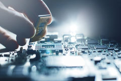 Electronic engineer. Maintenance computer cpu hardware Stock Images