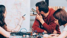 Electronic engineering brainstorming laboratory royalty free stock photo