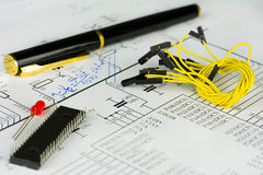 Electronic engineering. Conceptual photo of project and construction phase Stock Image