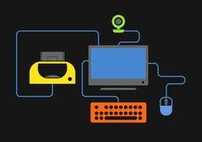 Electronic equipment connection scheme Stock Photo