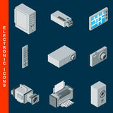 Electronic equipment icons set Stock Images