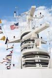 Electronic equipment mast on a cruise ship Stock Photo