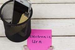 Electronic equipments in trash can, Electronic waste concept.  royalty free stock image