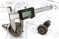 The electronic exact calliper. Is ready to measurement royalty free stock photos