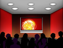Electronic fair. Media room with plasma television on the wall Stock Photos