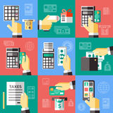 Electronic Financial Operations Set. Electronic financial operations decorative icons set with hand banking card money smartphone payment terminal  vector Stock Images