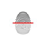 Electronic fingerprint icon scanner identification. Security and surveillance system. Electronic fingerprint icon scanner identification isolated on white Stock Photography