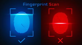 Electronic fingerprint scan. Passed and not passed authorization.  Stock Images