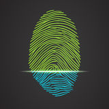 Electronic fingerprint scanner identification. Fingerprint identification with whorls. Vector illustration isolated on black background, eps 10 Stock Images