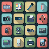 Electronic flat vector icons set 2. A set of flat vector electronic icons stock illustration