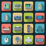 Electronic flat vector icons Royalty Free Stock Photo
