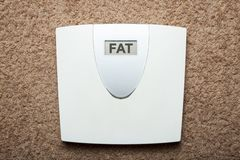 Electronic floor scales instead of weight show the word fat stock images