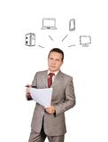 Electronic gadgets. Businessman dreaming about electronic gadgets Royalty Free Stock Photos