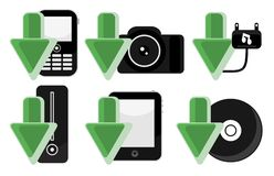 IT Electronic Gadgets Download Arrow Icons Set. Vector illustration: Concept for various electronic gadgets downloading icons, consisting of mobile phone, camera Stock Photo