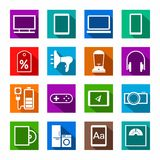 Electronic gadgets and household appliances, colored icons, flat. Royalty Free Stock Photography