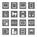 Electronic gadgets and household appliances, icons, monochromatic, gray. Royalty Free Stock Photography