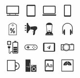 Electronic gadgets and household appliances, icons, monochrome. Stock Photo