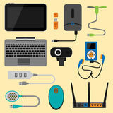 Electronic gadgets icons technology electronics multimedia devices everyday objects control and computer connection Stock Photos