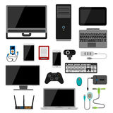 Electronic gadgets icons technology electronics multimedia devices everyday objects control and computer connection. Digital network vector illustration vector illustration