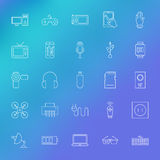 Electronic Gadgets Line Icons Set over Blurred Background Stock Image