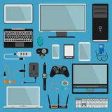 Electronic gadgets vector icons technology PC electronics multimedia devices. Everyday technology objects. Control. Gadgets. Control connection computer royalty free illustration
