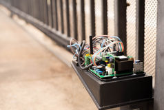 Electronic Gate control system motor. With wires industrial royalty free stock photography
