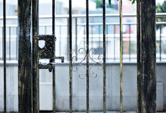 Electronic gate and metal fence Royalty Free Stock Images
