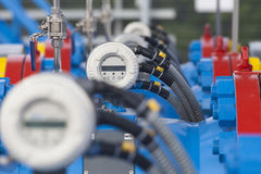 Electronic gauges on gas pipelines. Of gas distribution station Stock Photography