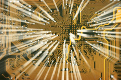 Electronic golden circuit board with shine Royalty Free Stock Images