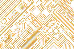 Electronic graphics golden - white background Stock Photos