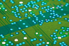 Electronic green circuit board Royalty Free Stock Photos