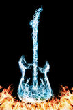 Fire electric guitar. Electronic guitar blue on a black background. Burning guitar Stock Photo