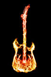 Fire electric guitar. Electronic guitar flames on a black background Royalty Free Stock Photo